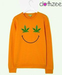 Weed Leaf Smiley Face Sweatshir