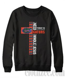 All I need and a whole lot of jesus today is a little bit of gators Sweatshirt by Clothzee