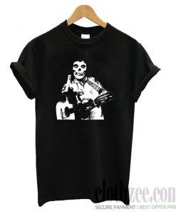 Johnny Cash The Misfits Middle Finger Black Skull T shirt