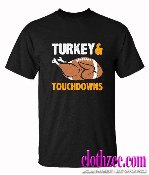 Turkey and Touchdowns Football Trending T-Shirt